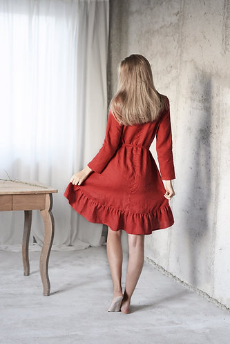 WOMEN'S LINEN CHRISTMAS DRESS