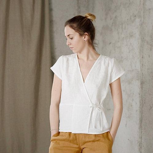 Women's linen wrap top AIWA
