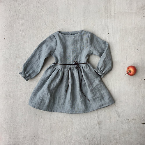 Girl's linen dress puff sleeves with belt