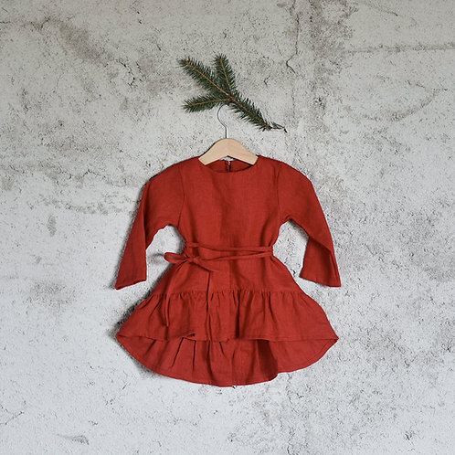 GIRLS LINEN CHRISTMAS DRESS