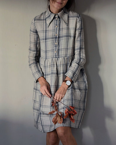 Women's linen shirt dress MARGOT long sleeve