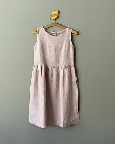 WOMEN'S LINEN DRESS SLEEVELESS, size XS, color dusty pink