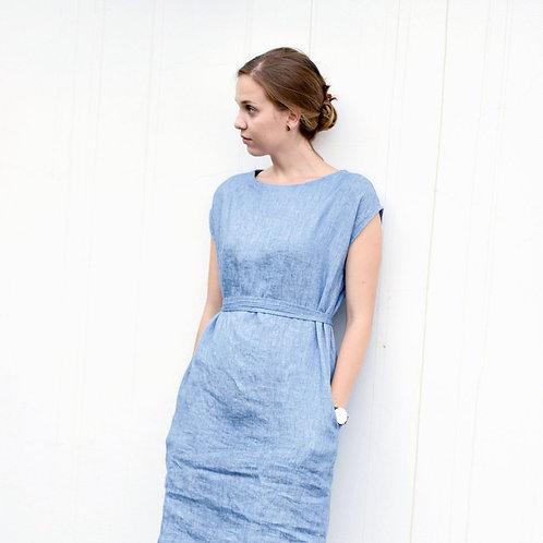 BASIC LINEN DRESS SLEEVELESS WITH BELT