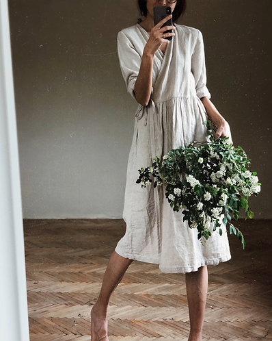 WOMEN'S LINEN WRAP DRESS
