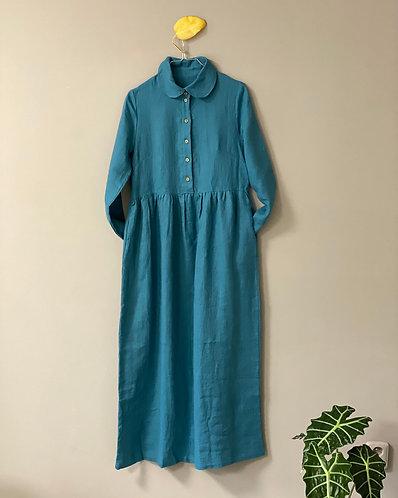 Women's boho dress with Peter Pan collar, enamel blue,  S