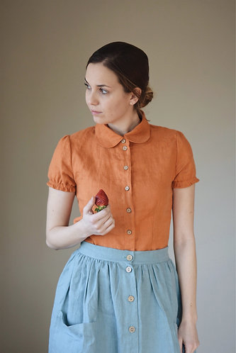 Women's linen shirt EMILY short sleeve