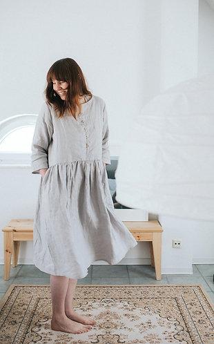 WOMEN´S LINEN DRESS 3/4 SLEEVE - NURSING FRIENDLY