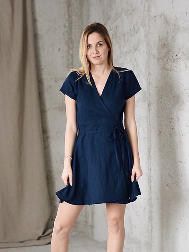 Women's linen wrap dress ELLY