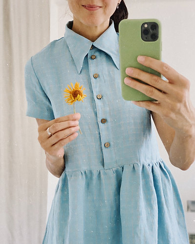 Women's linen shirt dress MARGOT short sleeve