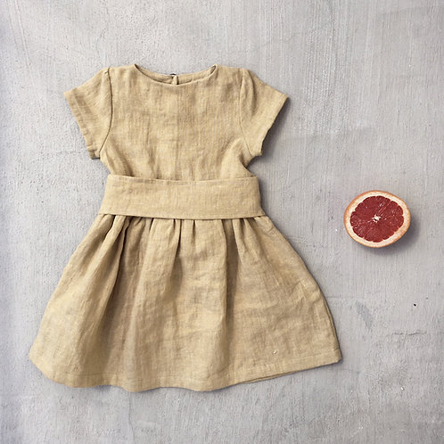 Girl's linen dress short sleeves with belt