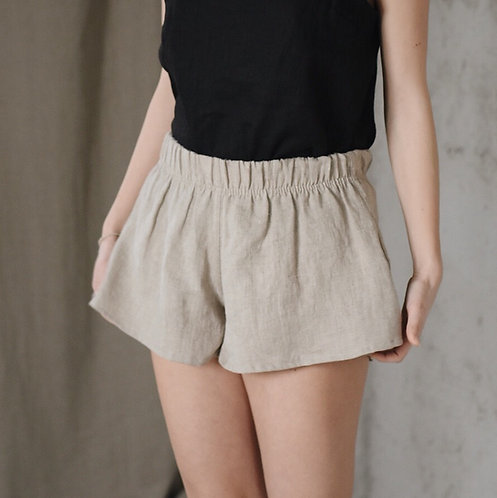 Women's linen wide shorts