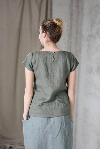 Women's linen top short sleeves LASSY