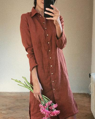 Women's linen shirt dress STELLA