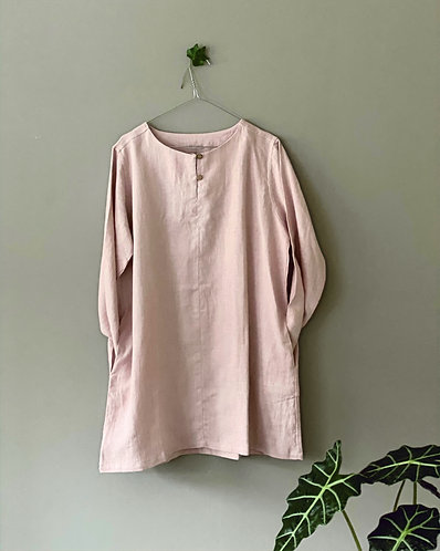 TUNIC WITH BUTTONS AND POCKETS, dusty pink, XL