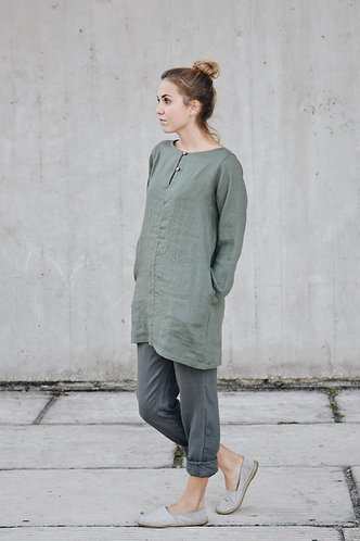 WOMEN'S LINEN TUNIC WITH BUTTONS AND POCKETS
