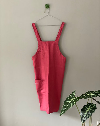 Linen apron - japanese apron - Raspberry - size M