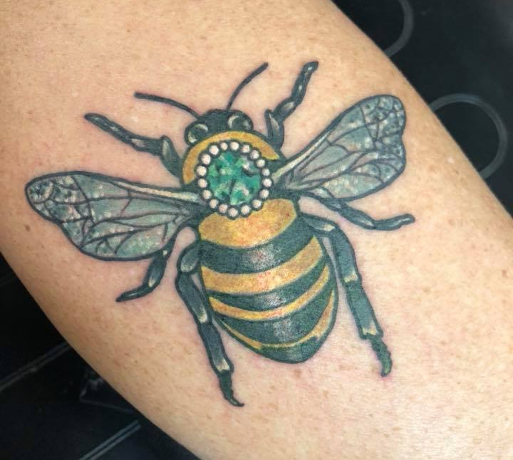 Val Busquets Full Color Tattoo Jeweled Bee Tattoo Crowned Raven Tattoo South Bend Tattoo