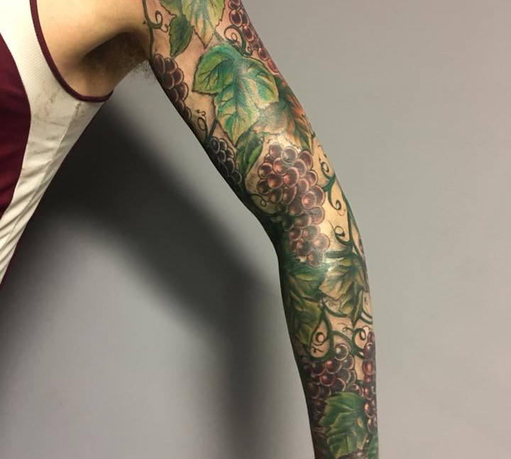 Val Busquets Full Color Tattoo Greape Tattoo Sleeve Crowned Raven Tattoo South Bend Tattoo