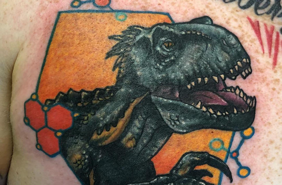 Val Busquets Full Color Tattoo Indoraptor Tattoo Jurassic Park Tattoo Jurassic World Tattoo  Crowned Raven Tattoo South Bend Tattoo