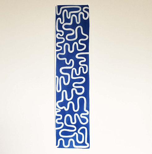 Blue and white wiggle panel painting, original piece