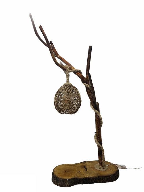 Doğal Ahşap Davulga ve Meşe Ağacından Eskitme Abajur