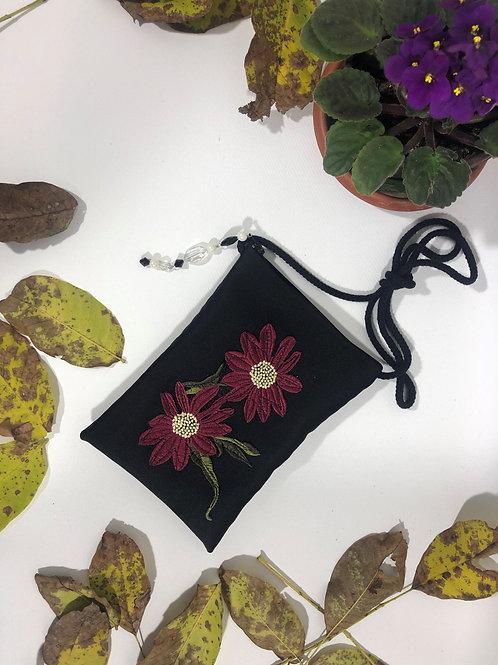 Kadife Çiçek Figürlü Mini Çanta