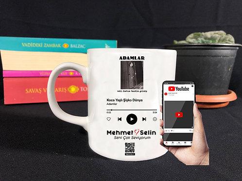 Kişiye Özel Ses İzi ve Spotify Fotoğraflı Kupa Bardak