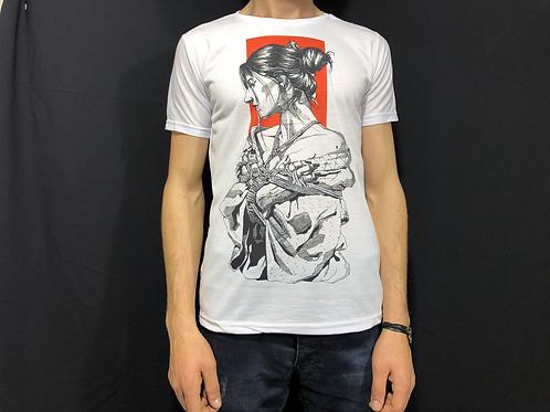 Kara Kalem Kadın Figürlü T-Shirt