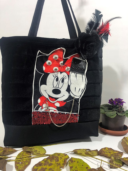 Kadife Mickey Mouse Omuz Çantası