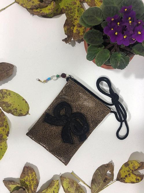 Vinleks Mini Siyah Kurdele Figürlü Çanta