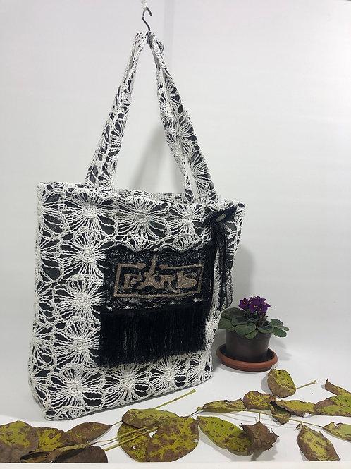 Siyah Beyaz Pamuklu Paris Omuz Çantası