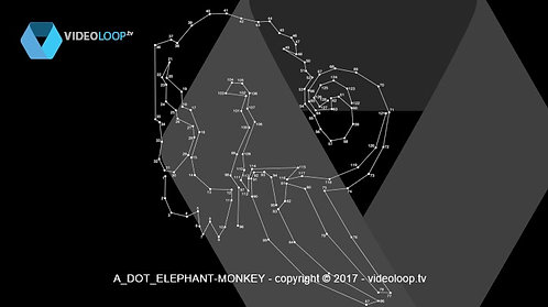 VideoLoop.tv | Dot to dot animation - Elephant turns into monkey