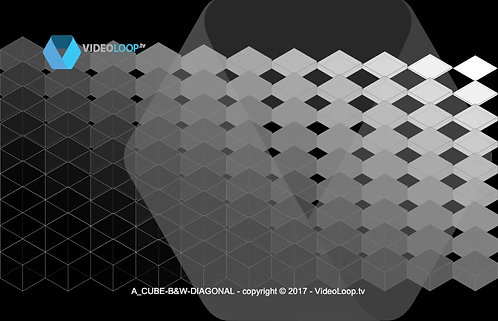 VideoLoop.tv | Isometric black and white cube animation, diagonal reveal