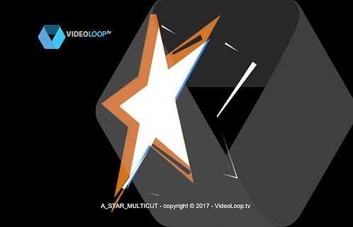 VideoLoop.tv | Rotation of a 3D white star extrusion with multicut stickers effects