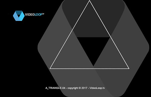 VideoLoop.tv | A black and white isometric triangle is growing in front