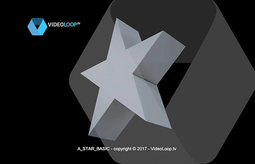 A_WHITE STAR_BASIC | Rotation of a 3D white star extrusion | free videoloop