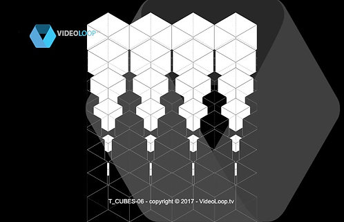 VideoLoop.tv | Tiled isometric black and white cube. Can be repeated on horizontal axis.