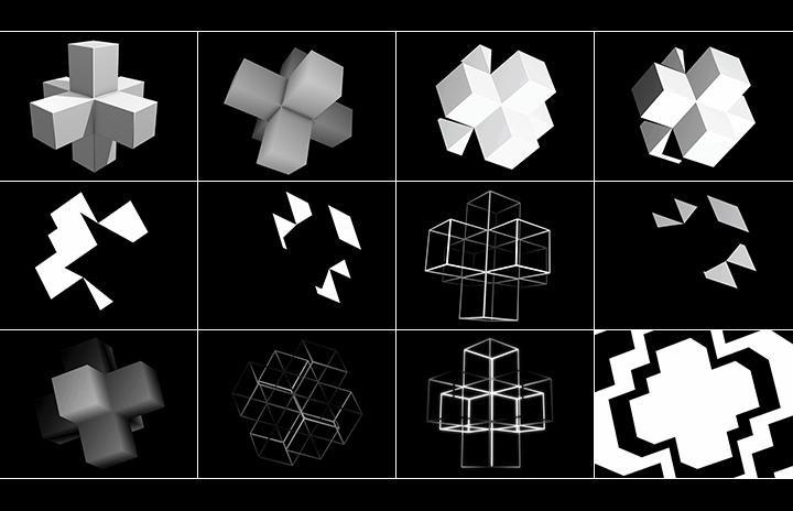 3D cross cubes video pack