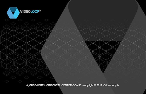 VideoLoop.tv | A horizontal center scale isometric wired cubes animation
