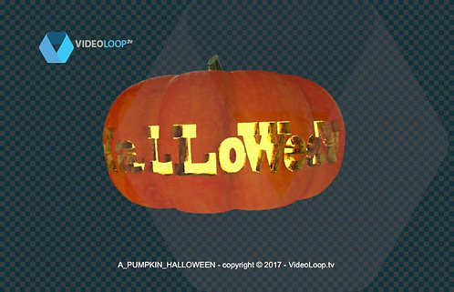 videoloop.tv | A pumpkin 3d rotates with the word halloween