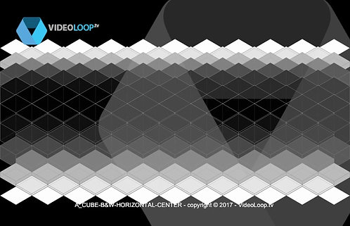 VideoLoop.tv   A horizontal center isometric black and whitecubes animation