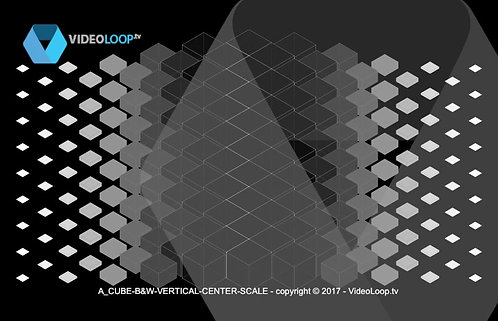 VideoLoop.tv | A vertical center scale isometric black and white cubes animation