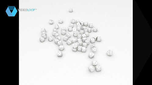 VideoLoop.tv | A cube made up of dice falls on the ground - 3D sketched render