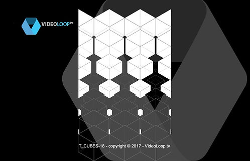 VideoLoop.tv | Tiled isometric black and white wired cube - Can be repeated on horizontal axis