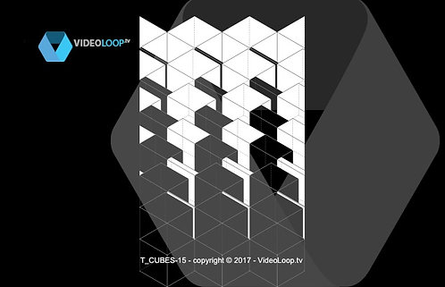 VideoLoop.tv | Tiled isometric black and white wired cube - Can be repeated onhorizontal axis.