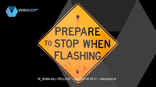 VideoLoop.tv   Yellow warning road signs