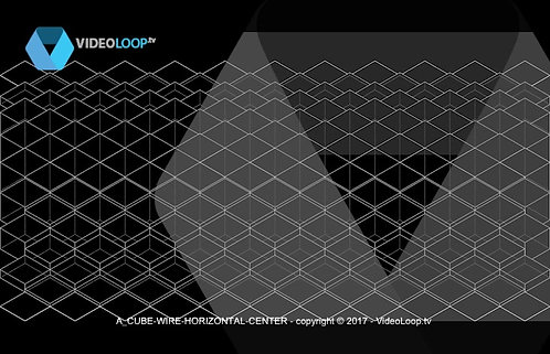 VideoLoop.tv | A horizontal center isometric wired cubes animation
