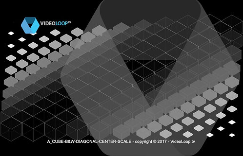 VideoLoop.tv | A isometric black & white cube center scale diagonal animation