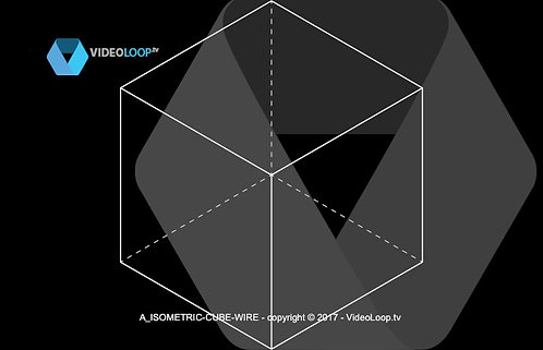 VideoLoop.tv | Elevated animation of a wired isometric cube