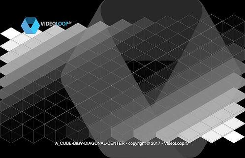 VideoLoop.tv | A isometric black & white cube center diagonal animation